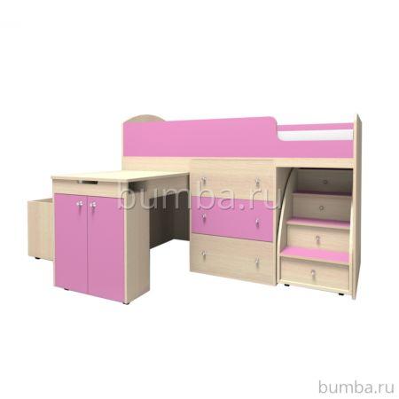 Кровать-чердак Ярофф Малыш (дуб/розовый)