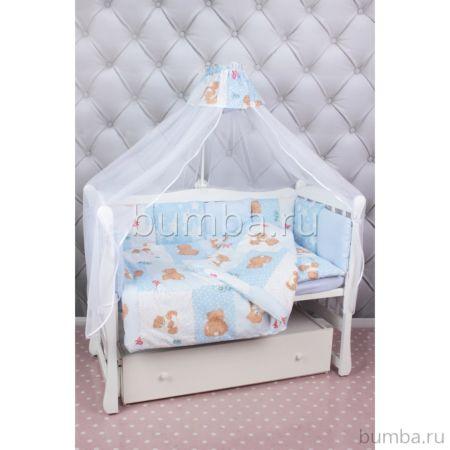 Комплект постельного белья AmaroBaby Мишка (18 предметов, бязь) (голубой)
