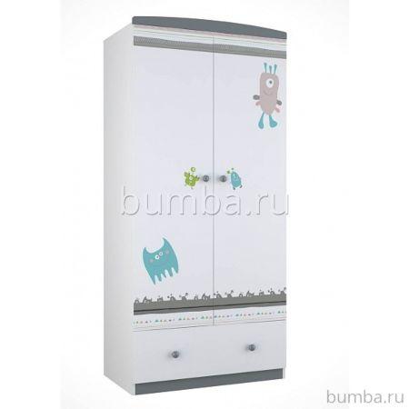 Шкаф двухсекционный Polini Basic (бело-серый)