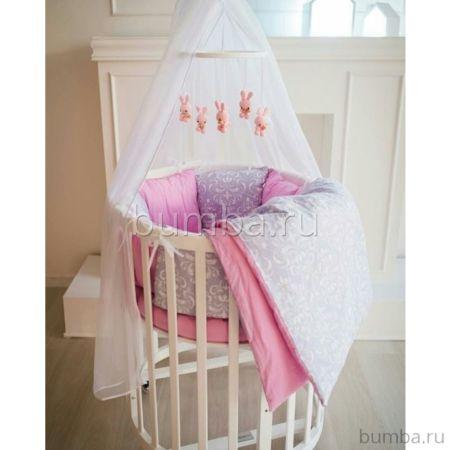 Комплект белья для овальной кроватки by Twinz (15 предметов, хлопок) (малина)