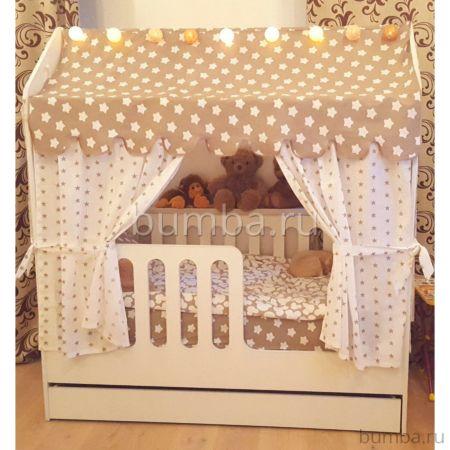 Кроватка-домик Мир Мебели с ящиком (белая)