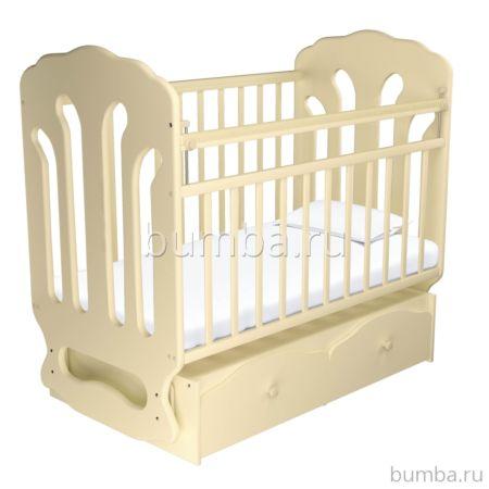 Кроватка детская Агат Папа Карло 2/3 (поперечный маятник) (Бежевый)