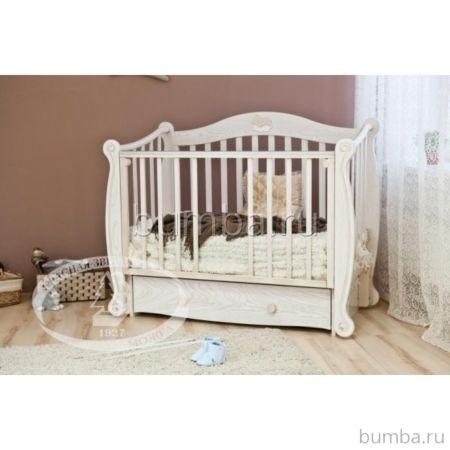 Кроватка детская Можга Валерия С 707 (продольный маятник) (античный белый)