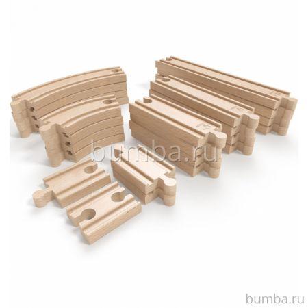 Деревянный конструктор Hape Железная дорога (24 детали)