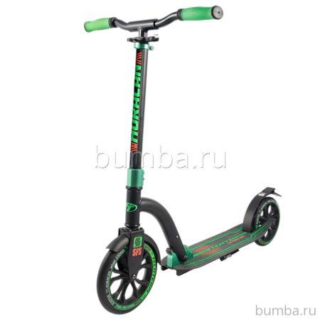 Самокат TechTeam Huracan с регулировкой руля (черно-зеленый)
