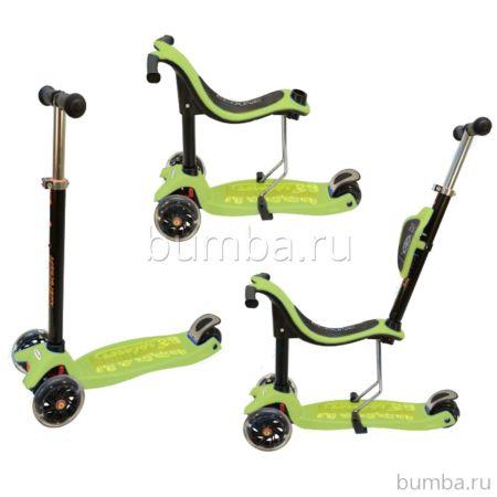 Самокат Ecoline Onex 3D PIC со светящимися колесами (зеленый)