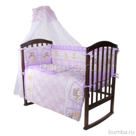 Комплект в кроватку Baby Care Мишкин сон (Сиреневый)