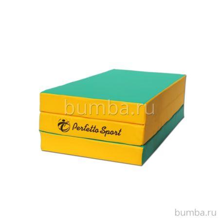 Гимнастический мат Perfetto Sport №4 150х100см (зелено-желтый)