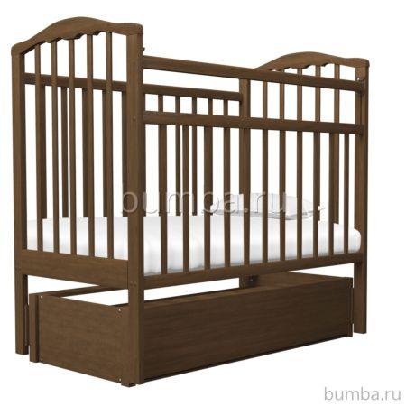 Кроватка детская Агат Золушка-6 (продольный маятник) с ящиком (Орех)