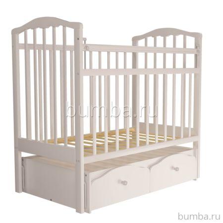 Кроватка детская Агат Золушка-7 (поперечный маятник) с ящиком (Белый)