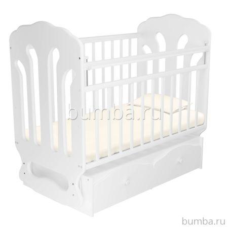Кроватка детская Агат Папа Карло 2/3 (поперечный маятник) (Белый)