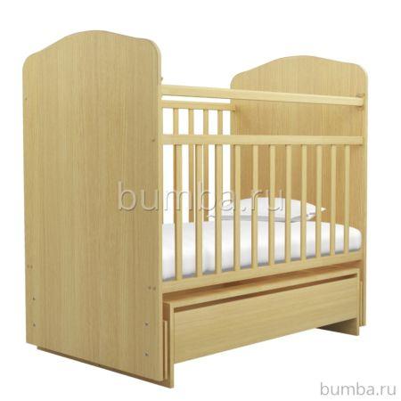 Кроватка детская Агат Золушка-10/1 (поперечный маятник) с ящиком (Светлый)