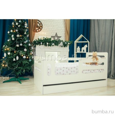 Кроватка детская Мир Мебели с ящиком (белая)