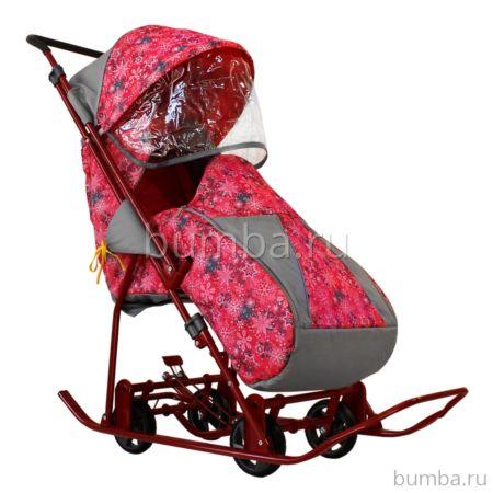 Санки-коляска Galaxy Снежинка Универсал (розовый)