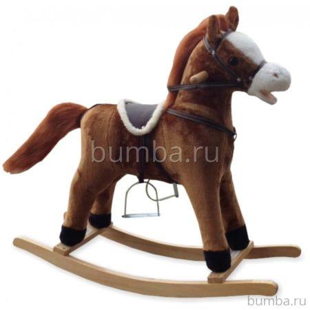 Лошадка-качалка BabyMix Oscar со стременами (светло-коричневая)