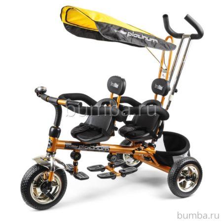 """Трехколесный велосипед для двойни Small Rider Platinum с ПВХ-колесами 9"""" и 7"""" (P&G) (золото)"""