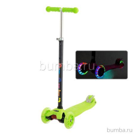 Самокат BiBiTu Cavy со светящимися колесами и регулировкой руля (салатовый)