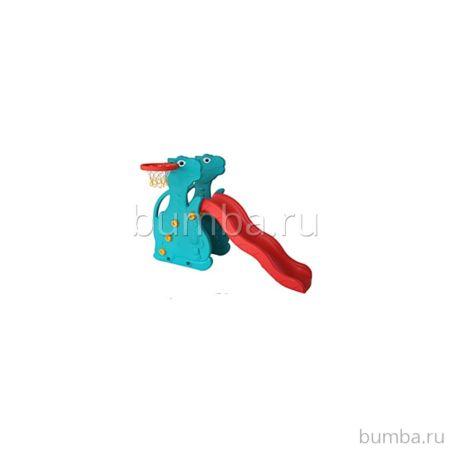Горка детская QiaoQiao Toys Дино с баскетбольным кольцом