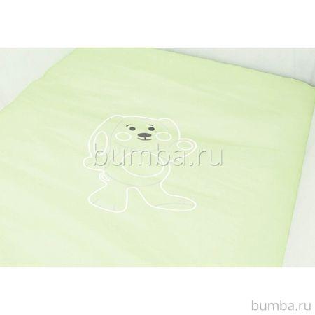 Комплект постельного белья для колыбели Polini (5 предметов, хлопок) (зеленый)
