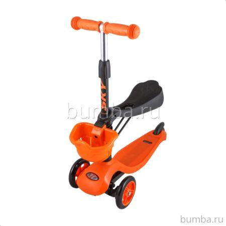 Самокат TechTeam Sky Scooter 2017 с сиденьем и регулировкой руля (оранжевый)