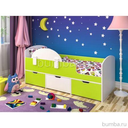 Кровать детская Ярофф Малыш Мини (белое дерево/лайм)